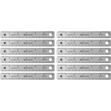"Westcott Stainless Steel Rulers - 6"" Length 0.8"" Width - 1/16, 1/32 Graduations - Metric, Imperial Measuring System - Stainless Steel - 12 / Box - Stainless Steel"
