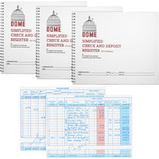 "Dome Check And Deposit Register - 50 Sheet(s) - Wire Bound - 10 1/4"" x 8 1/2"" Sheet Size - 10 Columns per Sheet - Gray - Gray Cover - Recycled - 3 / Bundle"