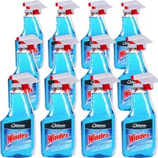 Windex® Glass Cleaner with Ammonia-D - Capped with Trigger - Spray - 32 fl oz (1 quart) - 12 / Carton - Blue