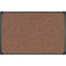 "MasterVision Techcork Board - 36"" Height x 24"" Width - Brown Rubber Surface - Self-healing - Black Aluminum Frame - 1 Each"