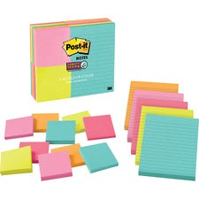 "Post-it® Super Sticky Notes - Miami Color Collection - 3"" x 3"" , 4"" x 6"" - Square, Rectangle - 90 Sheets per Pad - Unruled, Ruled - Assorted - Self-adhesive, Self-stick - 15 / Pack"