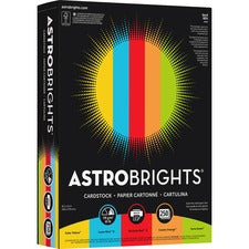 Astrobrights Inkjet, Laser Print Printable Multipurpose Card Stock - 65 lb Basis Weight - Smooth - 5 / Carton - Assorted