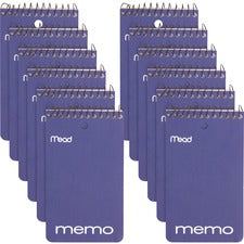 "Mead Wirebound Memo Book - 60 Sheets - 120 Pages - Wire Bound - College Ruled - 3"" x 5"" - White Paper - Assorted Cover - Cardboard Cover - Stiff-back, Hole-punched - 12 / Pack"
