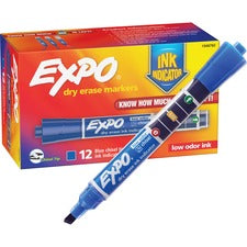 EXPO Dry-Eraser Markers - Ink Indicator - Chisel Marker Point Style - Blue - 12 / Box