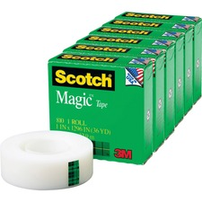 "Scotch Magic Tape - 36 yd Length x 1"" Width - 1"" Core - 6 / Pack - Clear"