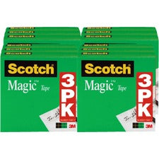 "Scotch 1/2""W Magic Tape - 36 yd Length x 0.50"" Width - 1"" Core - 12 / Bundle - Matte Clear"