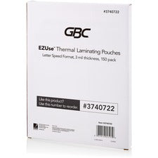 "Swingline GBC Fusion EZUse Laminating Pouches - Sheet Size Supported: Letter 8.50"" Width x 11"" Length - Laminating Pouch/Sheet Size: 3 mil Thickness - Glossy - for Document - UV Resistant - Clear - 150 Pack"