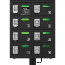 "ChargeTech 8-bay Cell Phone Charging Locker - Pin Number Lock - Wall, In-Floor - for Wallet, Key, Camera, Cell Phone - Overall Size 24"" x 19"" - Black"