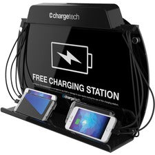ChargeTech Wall-Mount/Tabletop Charging Station - Wired - Tablet, Mobile Phone - Charging Capability - 5 x USB - Black