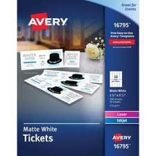 Avery® Blank Printable Tickets with Tear-Away Stubs - Perforated - Matte White - 500/Pack