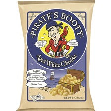 B&G Pirate's Booty White Cheddar Rice/Corn Puffs - Gluten-free, No Artificial Flavor, No Artificial Color, Preservative-free - White Cheddar - 1 oz - 24 / Carton