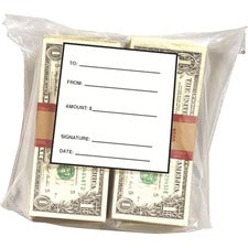 "MMF Strapped Currency Bags - 8.25"" Width x 9.25"" Length - Clear - Film, Polyethylene - 1000/Box"