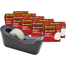 "Scotch Super-Hold Tape - 27.78 yd Length x 0.75"" Width - Dispenser Included - 10 / Pack - Clear"