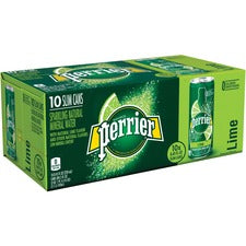 Perrier Slim Can Mineral Water Beverage - Lime Flavor - 8.45 fl oz (250 mL) - Can - 30 / Carton