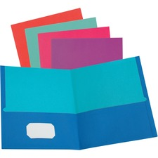 "Oxford Twisted Twin Pocket Folder - Letter - 8 1/2"" x 11"" Sheet Size - 100 Sheet Capacity - 2 Pocket(s) - Assorted - Recycled - 50 / Box"