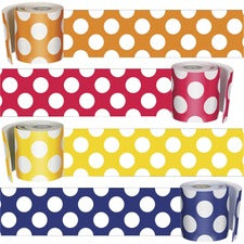 "Carson Dellosa Education Schoolgirl Style Polka Dot Borders Set - Navy with Polka Dots, Yellow with Polka Dots, Orange with Polka Dots, Red with Polka Dots - 3"" Width x 36"" Length - Multicolor - 4 / Set"