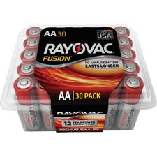 Rayovac Fusion Premium Alkaline AA Batteries Pack - For Multipurpose - AA - Alkaline - 30 / Pack