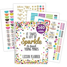 Teacher Created Resources Confetti Lesson Planner - Academic - 9 Month - Wire Bound - Multi - Appointment Schedule, Event Planning Sheet, Reminder Section