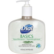 Dial Basics HypoAllergenic Liquid Hand Soap - Fresh Floral Scent - 16 fl oz (473.2 mL) - Pump Bottle Dispenser - Kill Germs - Hand, Skin - White - Hypoallergenic - 12 / Carton