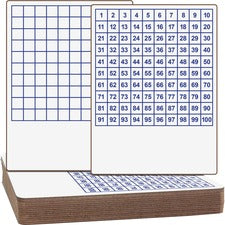 "Flipside Hundreds Grid Board - 9"" (0.8 ft) Width x 12"" (1 ft) Height - White/Blue Surface - Rectangle - 12 / Set"