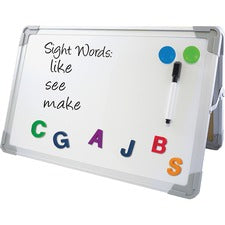 "Flipside Magnetic Dry-Erase Desktop Easel - 18"" (1.5 ft) Width x 12"" (1 ft) Height - White Aluminum Surface - Desktop - 1 Each"