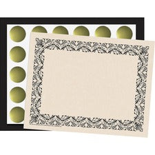 "Flipside Art Deco Black Border Certificate - 8.50"" x 11"" - Black with Black Border - Paper"