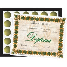 "Flipside Diploma/Graduation All-in-1 Set - 8.50"" x 11"" - Gold, Green, Black - Paper"