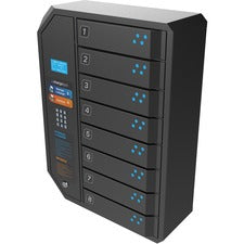 "ChargeTech 8 Bay Pin Code Charging Locker - Pin Number Lock - In-Floor, Wall - for Wallet, Key, Camera - Overall Size 26"" x 19"" - Charcoal"