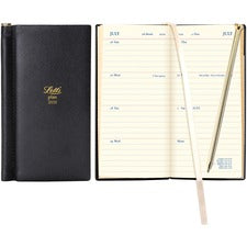 Rediform Letts of London Deluxe Pocket Planner - Julian Dates - Weekly - 1 Year - January till December - 1 Week Double Page Layout - Black - Leather - Notes Area, Reminder Section - 1 Each