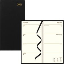 Rediform Letts Weekly/Monthly Executive Pocket Planner - Julian Dates - Weekly, Monthly - 1 Year - January till December - 1 Week Double Page Layout - Black - Leather - Reference Calendar, Holiday Listing - 1 Each