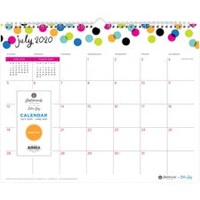 "Blue Sky Ampersand Dots Wall Calendar - Julian Dates - Monthly - 1 Year - July 2020 till June 2021 - 15"" x 12"" Sheet Size - Twin Wire - Wall Mountable - Multi - 15"" Width - Hook & Loop Closure, Bleed Resistant Paper, Appointment Schedule - 1 Each"