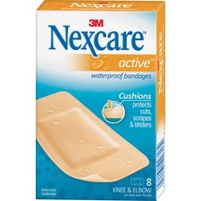 "Nexcare Extra Cushion Knee/Elbow Bandages - 1.88"" x 4"" - 8/Box - Beige - Foam"