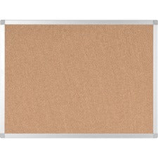 "Bi-silque Ayda Cork Bulletin Board - 0.50"" Height x 18"" Width x 24"" Depth - Cork Surface - Self-healing, Durable, Resilient, Heavy-gauge - Aluminum Frame - 1 Each"