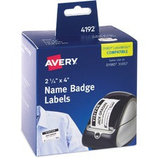 Avery® Name Badge Labels - Permanent Adhesive Length - Rectangle - Thermal - White - 250 / Box