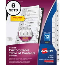 "Avery® Customizable Table of Contents Dividers - 72 x Divider(s) - 72 Tab(s) - 12 Tab(s)/Set - Letter - 8 1/2"" Width x 11"" Length - 3 Hole Punched - White Paper Divider - White Tab(s) - 6 / Pack"