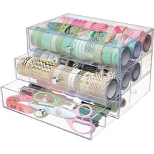 "Deflecto 3-drawer Transparent Storage Cube - 3 Drawer(s) - 7"" Height x 10"" Width x 6.8"" Depth - Desk - Clear - 1Each"