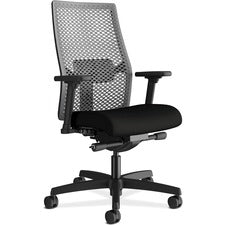 "HON Ignition Mid-back ReActiv Back Task Chair - Black Frame - Black - 27"" Width x 28.5"" Depth x 44.5"" Height - 2 / Each"