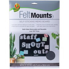 "Duck Brand Felt Mounts Self-Sticking Memo Board - 23"" Height x 18"" Width - Black Surface - Damage Resistant, Dual Sided, Self-stick - 1 Each"
