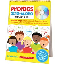 Scholastic K-2 Phonics Sing-Along Flip Chart - Theme/Subject: Fun, Learning - Skill Learning: Short Vowels, Long Vowels, Blend, Diagraph, Bossy R, Silent e