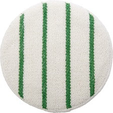 "Rubbermaid Commercial Green Stripe Carpet Bonnet - 5/Carton x 19"" Diameter - 175 rpm to 300 rpm Speed Supported - White, Green"
