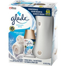 Glade Clean Linen Automatic Spray Kit - Spray - Clean Linen - 60 Day - 4 / Carton - Long Lasting
