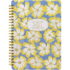 Rediform Floral Bloom Design Weekly Planner - Weekly - 1 Year - January till December - Twin Wire - Yellow - Daily Block, Durable Cover, Page Marker