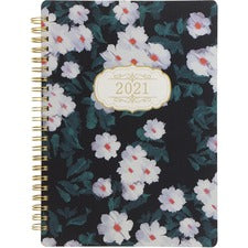 Rediform Floral Bloom Design Weekly Planner - Weekly - 1 Year - January till December - Twin Wire - Black - Daily Block, Durable Cover, Page Marker