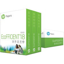 "HP EcoFFICIENT Copy & Multipurpose Paper - Letter - 8 1/2"" x 11"" - 18 lb Basis Weight - 3 / Carton - White"