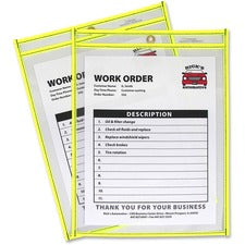C-Line Neon Shop Ticket Holders, Stitched - Yellow, Both Sides Clear, 9 x 12, 15EA/BX, 43916
