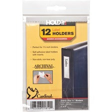 "Cardinal HOLDit! Self-Adhesive Label Holders - 1"" x 3"" x - 12 / Pack - Clear"