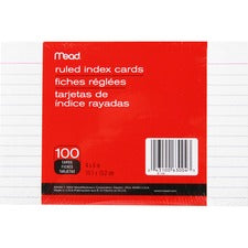 "Mead 90 lb Stock Index Cards - Ruled Red Margin - 90 lb Basis Weight - 4"" x 6"" - White Paper - Sturdy - 100 / Pack"