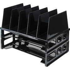 "OIC Tray/Sorter Combo - 5 Compartment(s) - 10.3"" Height x 13.5"" Width x 9.1"" Depth - Desktop - Black - 1Pack"