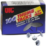 OIC Steel Thumb Tacks - 100 / Box - Silver - Steel