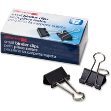 "OIC Binder Clips - Small - 0.8"" Width - 0.37"" Size Capacity - 12 / Box - Black"